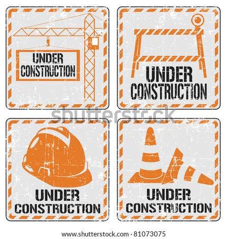Under construction sticker set - stock vector
