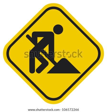 under construction (under construction road sign with man, under construction icon, under construction symbol) - stock vector