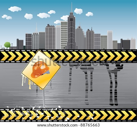 Under construction vector illustration with city details Europe - stock vector