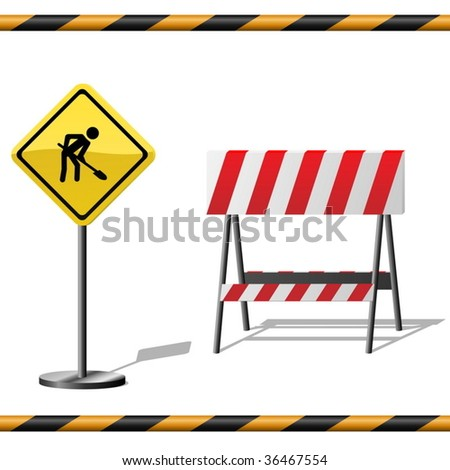 Under construction vector template with warning road sign, barrier and seamless striped tubes. - stock vector