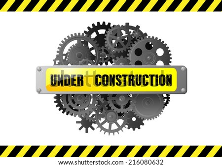 Under construction web page alert warning with gears and pinions, for web design - stock vector
