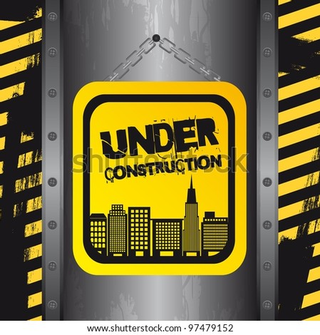 under construction with buildings, grunge. vector
