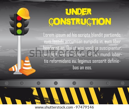 under construction with construction elements, grunge. vector - stock vector