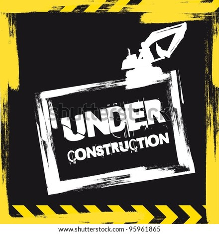 under construction with machine background. vector - stock vector