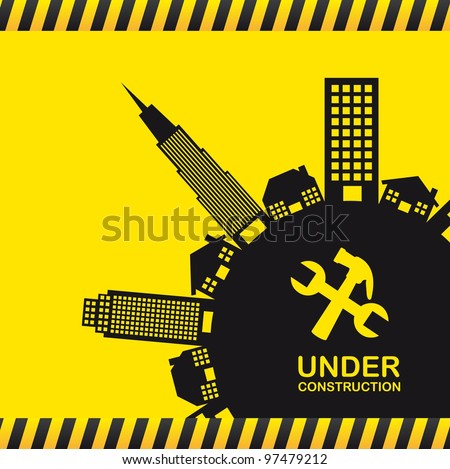 under construction with silhouette buildings. vector illustration - stock vector