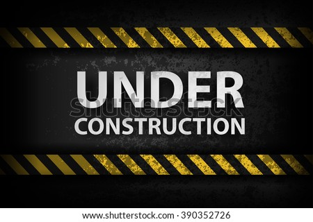 Under Construction with yellow stripes illustration