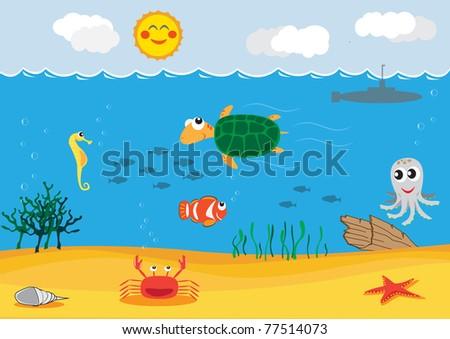 under sea - stock vector