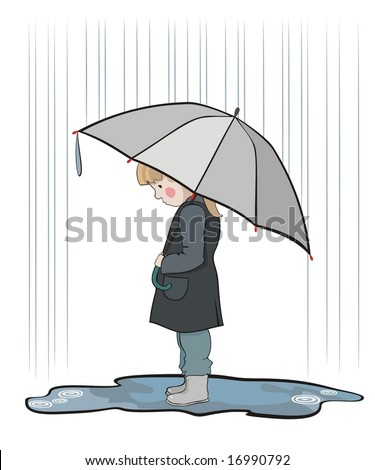 under the rain - stock vector
