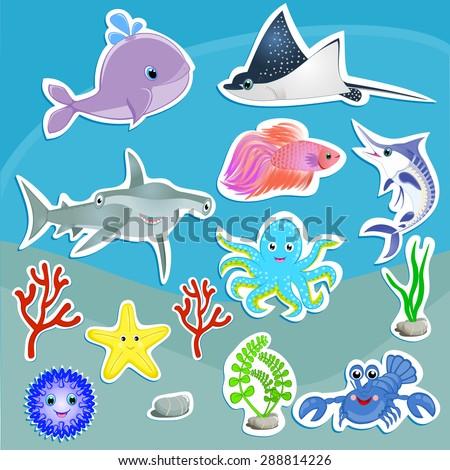 Under the sea animals vector graphic Cute sea creatures Cartoon animal stickers Whale, ray fish, marlin, lobster, octopus, urchin, hammerhead shark, velvet fish, coral, seaweeds vector illustration - stock vector