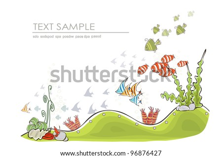 "under the sea background ""Happy world"" collection - stock vector"
