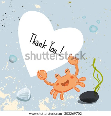 Under the sea, crab holding a heart shaped thank you sign. Underwater, marine life vector cartoon thank you card illustration. - stock vector