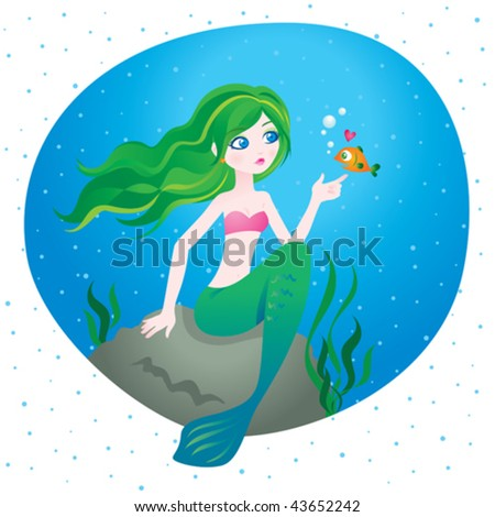 Under the sea. Vector illustration of a beautiful mermaid. - stock vector