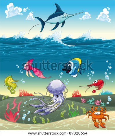 Under the sea with fish and other animals. Funny cartoon and vector illustration. - stock vector