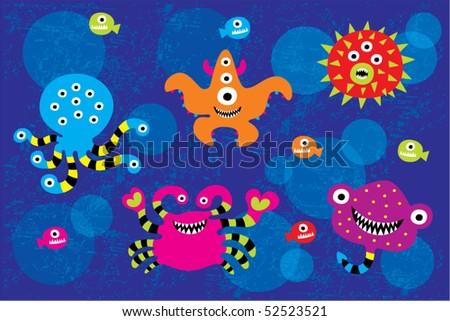 under water monster doodle - stock vector