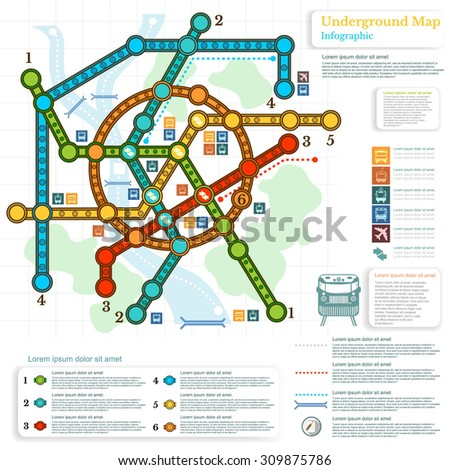 underground infographic with lines of metro on city map and topography simbols - stock vector