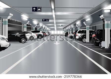 Underground parking with cars. EPS 10 format. - stock vector