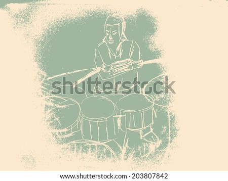 Underground society poster. Drummer. Vector illustration. - stock vector