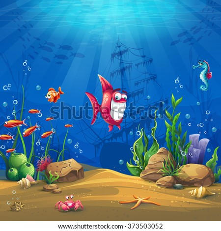 Undersea with fish. Marine Life Landscape - the ocean and the underwater world with different inhabitants. For design websites and mobile phones, printing. - stock vector