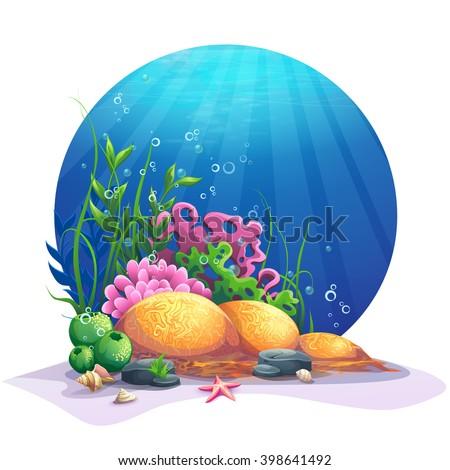 Undersea world. Marine flora on the sandy bottom of the ocean. For design websites and mobile phones, printing. Vector illustration  - stock vector