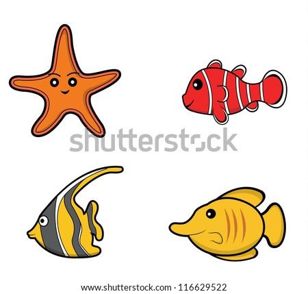 underwater animal set starfish. clown fish. moorish idol .butterfly fish - stock vector