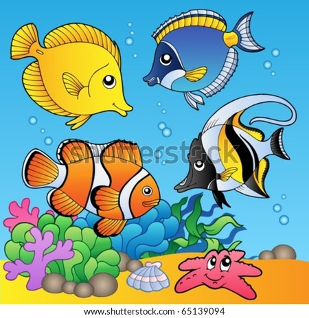 Underwater animals and fishes 2 - vector illustration. - stock vector