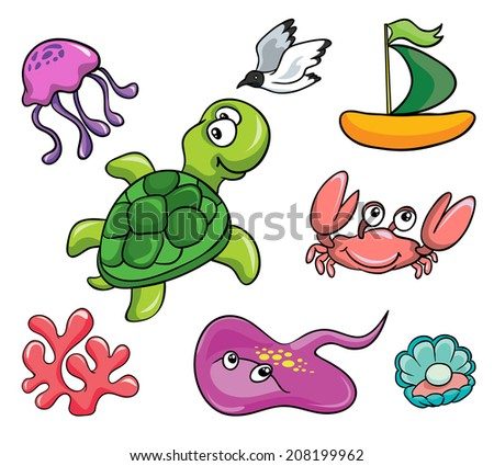 underwater animals, set, vector illustration on white background - stock vector