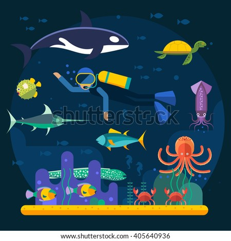 Underwater background with various water plant and swimming tropical fish and diver. Underwater background with fish. Underwater background coral garden with glossy water surface colorful fish - stock vector