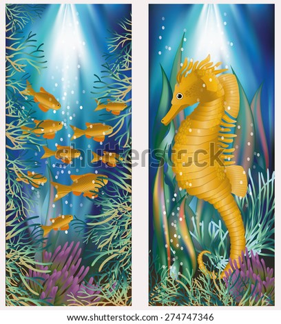 Underwater banner with seahorse and golden fish, vector illustration - stock vector
