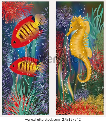 Underwater banners with seahorse and red tropical fish, vector illustration - stock vector