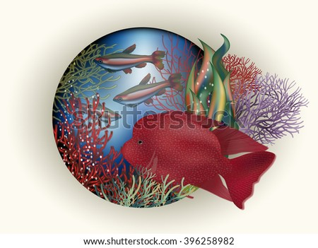 Underwater card red tropical fish, vector illustration - stock vector