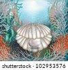 Underwater card. shell with a pearl . vector illustration - stock vector