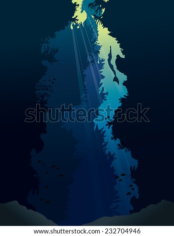 Underwater cave with coral reef and silhouette of free diver in monofin on a blue sea. - stock vector