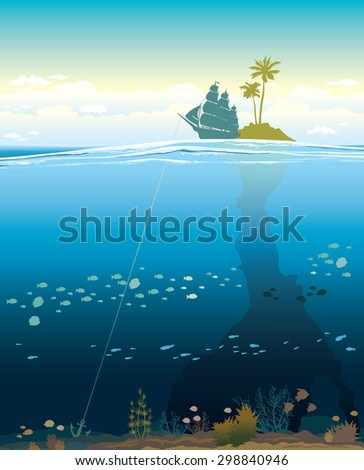 Underwater cave with coral reef and silhouette of traditional sail boat near the island. Natural tropical vector seascape. Space for text - stock vector
