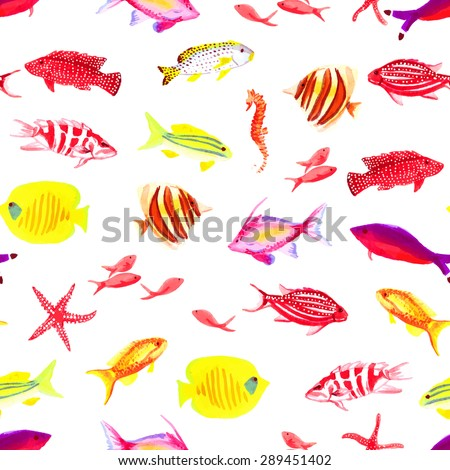 Underwater colorful fauna watercolor seamless vector print - stock vector