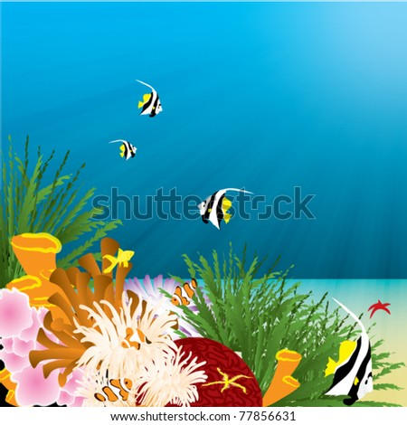 underwater coral reef illustration - stock vector