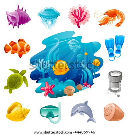 Underwater diving sea travel icon set with vacation summer symbols. White background. Concept icons contain water and beach creatures and diving equipment. Tropical fish, shell,  diving mask, flippers - stock vector