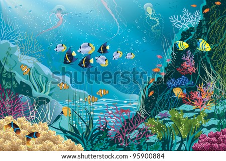 Underwater landscape with various water plants and swimming tropical fishes. All objects are grouped. - stock vector