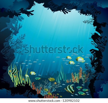 Underwater life - Coral reef with fish on a blue sea background - stock vector