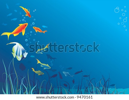 Underwater life, sea. Fish, seaweeds, bubbles. Copy space for text. Vector illustration - stock vector