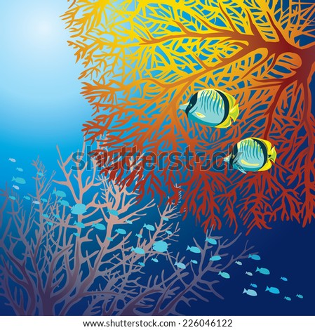 Underwater marine life - two yellow fish and fed fire coral on a blue sea background. - stock vector