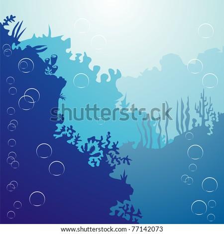 underwater ocean bottom with bubbles - stock vector
