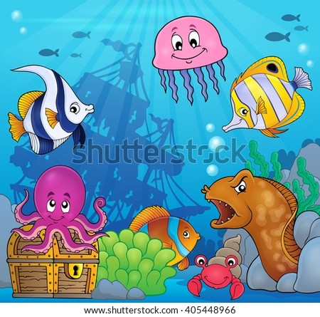 Underwater ocean fauna theme 8 - eps10 vector illustration. - stock vector