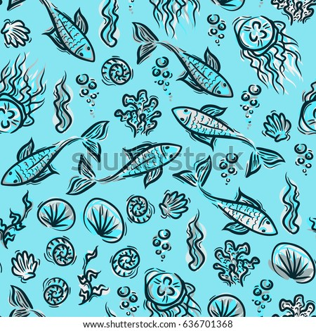 Underwater pattern fish ocean background sea stock vector royalty underwater pattern fish ocean background sea plants doodle texture kids summer pattern for freerunsca Gallery