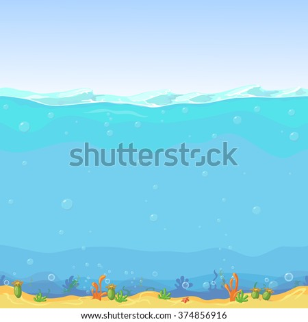 Underwater seamless landscape, cartoon background for game design - stock vector