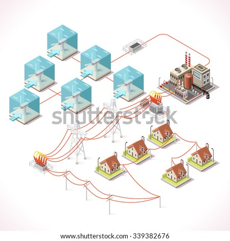 Underwater Turbine Electricity. Isometric Windmill Farms Power Plant Factory Electric Power Station Electricity Grid and Energy Supply Chain. Energy Management Diagram 3d Vector Illustration EPS JPG   - stock vector