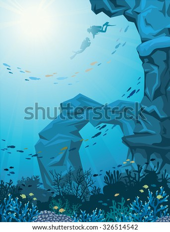 Underwater vector illustration - coral reef with school of fish, sea cave and two scuba divers. Natural seascape. - stock vector