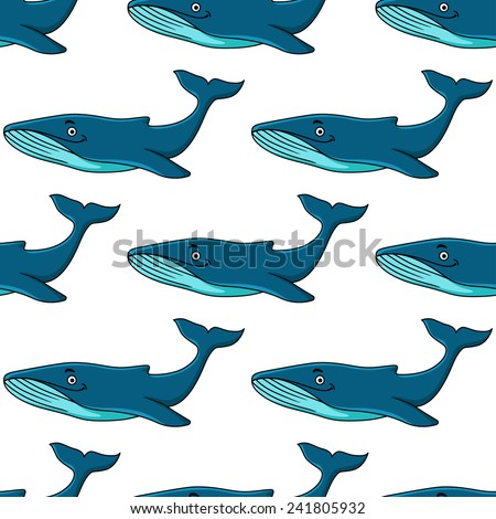 Underwater wildlife seamless background with cute cartoon blue whale characters with raised tail flukes for tile and wallpaper design - stock vector