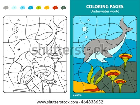 Underwater World Coloring Page Kids Dolphin Stock Photo (Photo ...