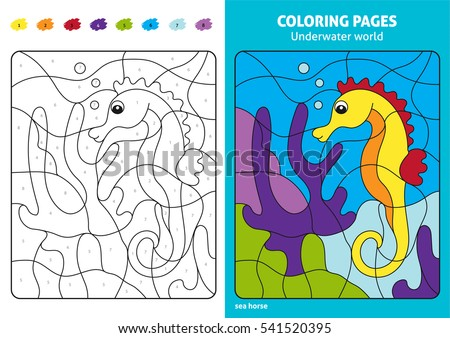 Underwater World Coloring Page For Kids Sea Horse Printable Design Book