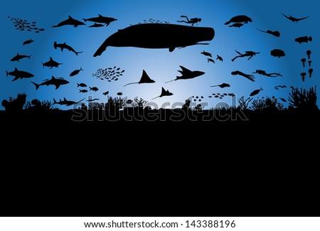 Underwater world, vector - stock vector